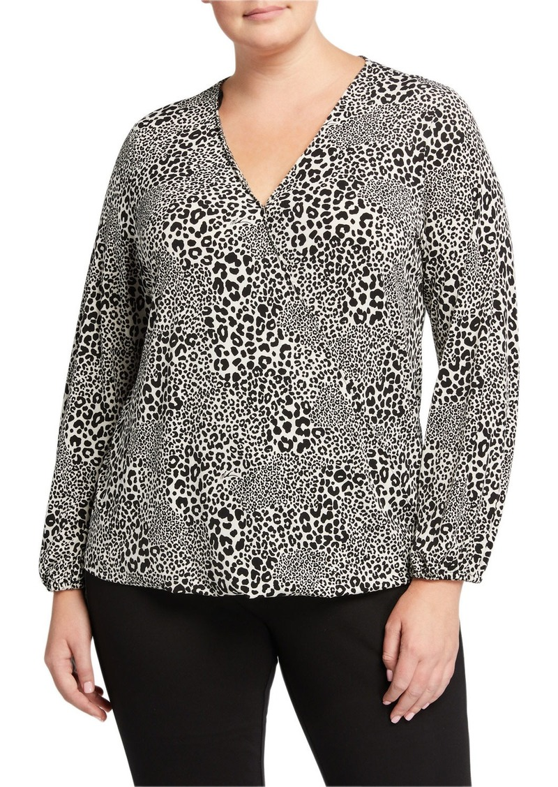 MICHAEL Michael Kors Plus Size Animal Print Wrap Top