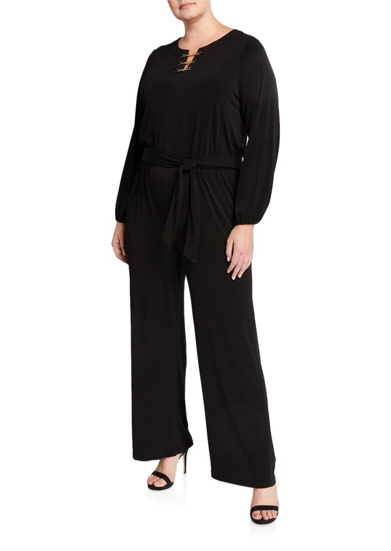 MICHAEL Michael Kors Plus Size Chain-Neck Long-Sleeve Jumpsuit