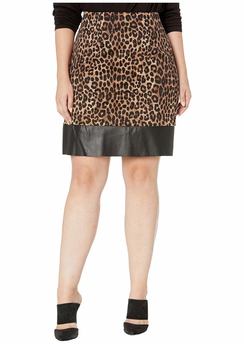 MICHAEL Michael Kors Plus Size Cheetah Leather Mini Skirt