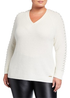 MICHAEL Michael Kors Plus Size Embellished Cable Sweater