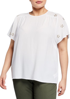 MICHAEL Michael Kors Plus Size Embellished-Sleeve Top
