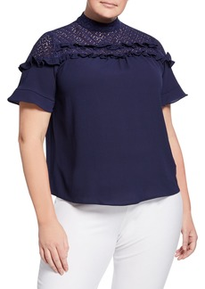 MICHAEL Michael Kors Plus Size Embroidered Lace Blouse w/ Ruffles