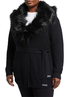 MICHAEL Michael Kors Plus Size Faux-Fur-Collar Tie-Waist Sweater Coat