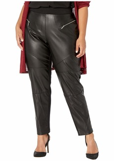 MICHAEL Michael Kors Plus Size Faux Leather Front Moto Leggings