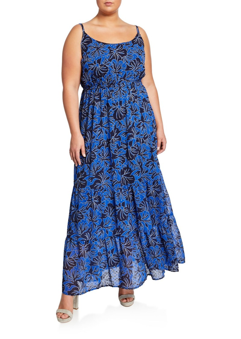 Plus Size Floral Tiered Sleeveless Maxi Dress