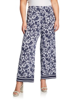 MICHAEL Michael Kors Plus Size Floral Wide-Leg Border Pants