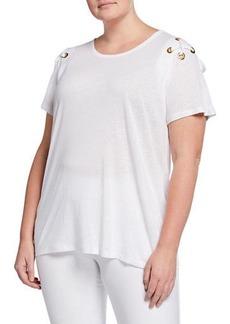 MICHAEL Michael Kors Plus Size Grommet Laced Shoulder Top