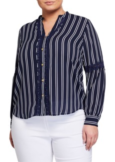 MICHAEL Michael Kors Plus Size Lace-Trim Button-Down Top