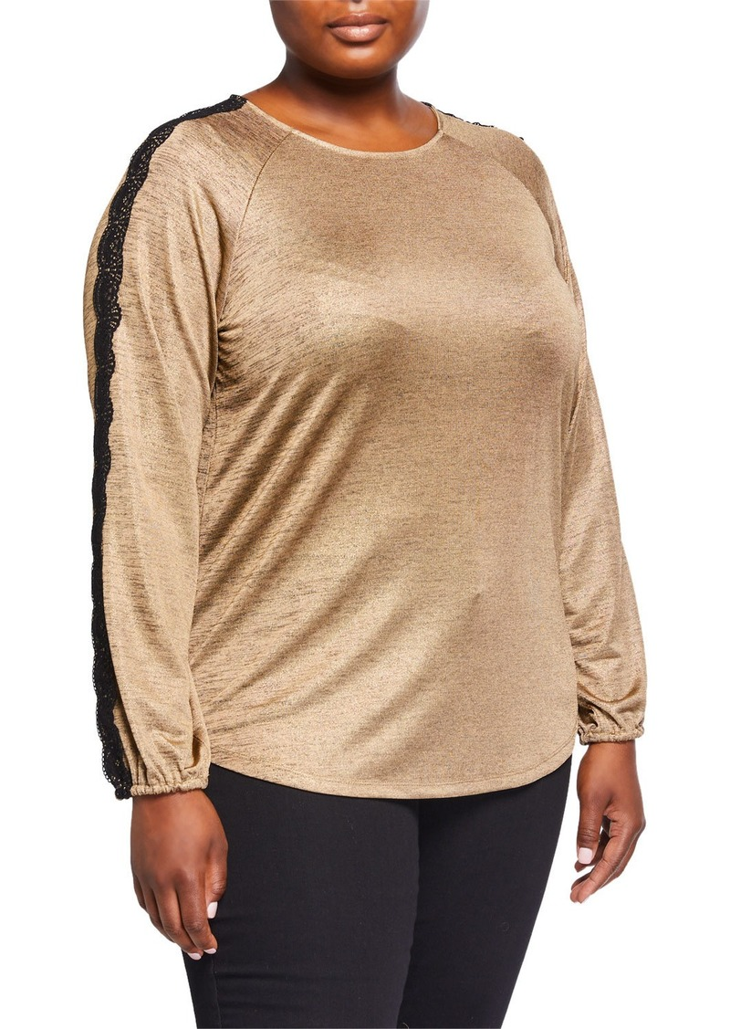 MICHAEL Michael Kors Plus Size Lace-Trim Raglan Top