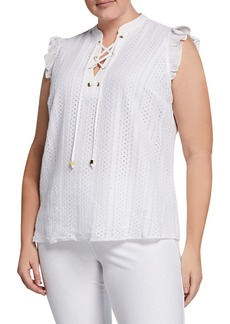 MICHAEL Michael Kors Plus Size Lace-Up Sleeveless Eyelet Top with Ruffle Trim