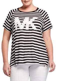 MICHAEL Michael Kors Plus Size Logo Grommet Short-Sleeve Striped Tee