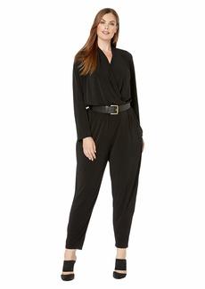 MICHAEL Michael Kors Plus Size Long Sleeve Belted Jumpsuit