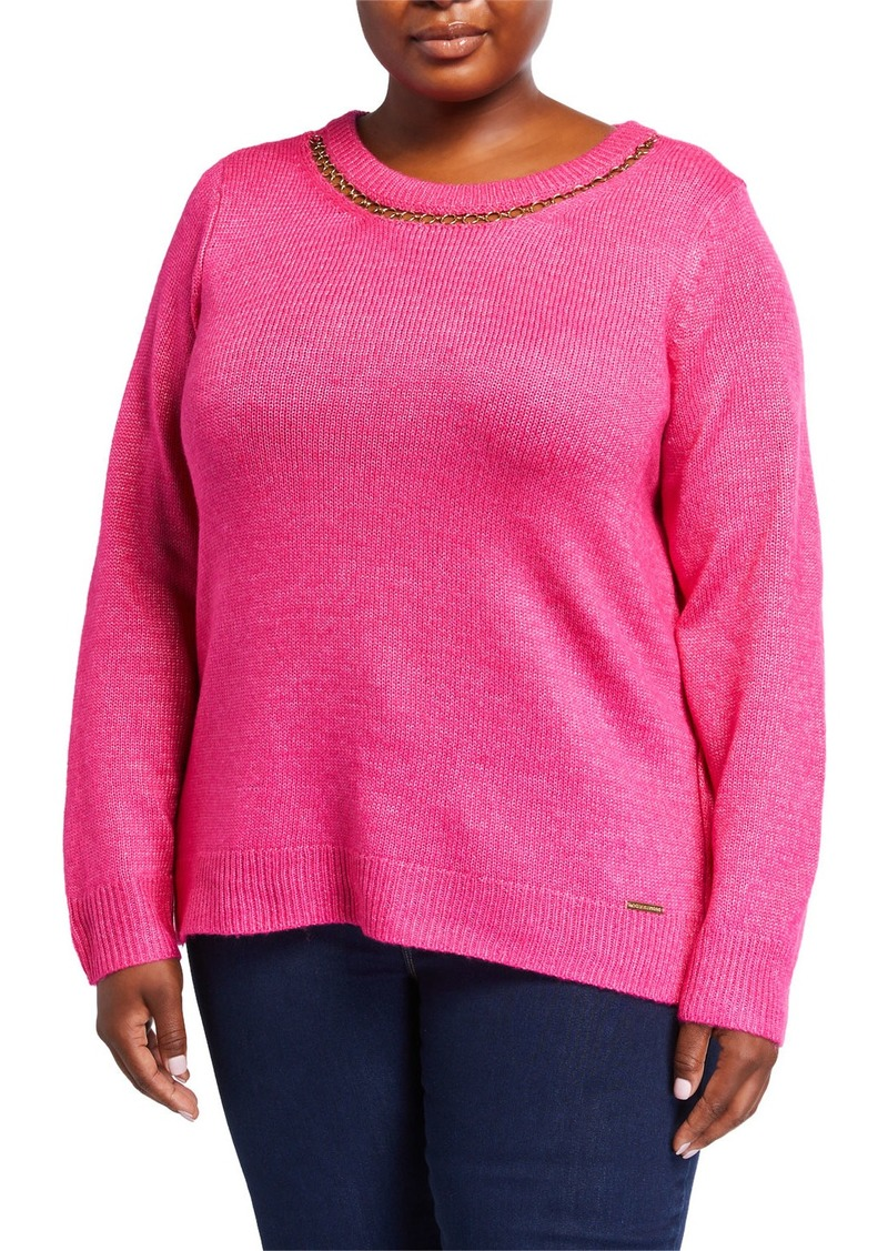 MICHAEL Michael Kors Plus Size Long-Sleeve Chain-Neck Wool-Blend Sweater