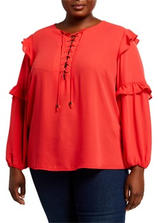MICHAEL Michael Kors Plus Size Long-Sleeve Lace-Up Ruffle-Trim Peasant Blouse
