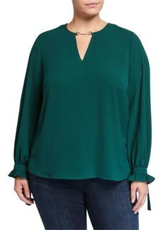 MICHAEL Michael Kors Plus Size Long-Sleeve Mini Chain Blouse