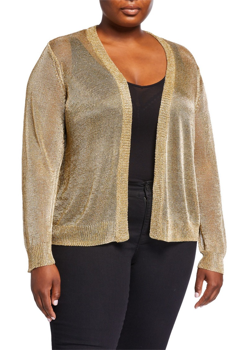 MICHAEL Michael Kors Plus Size Metallic Open-Front Cardigan