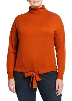 MICHAEL Michael Kors Plus Size Mock Neck Tie Front Sweater