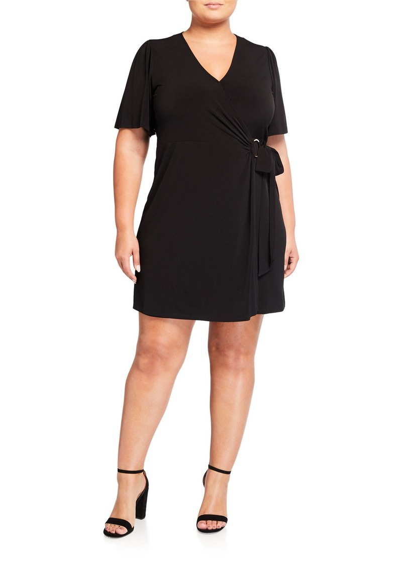 MICHAEL Michael Kors Plus Size Short-Sleeve Faux-Wrap Dress