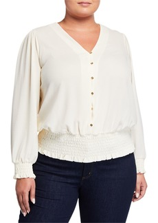 MICHAEL Michael Kors Plus Size Smocked Button-Down Blouse