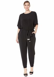 MICHAEL Michael Kors Plus Size Solid Short Sleeve Dolman Jumpsuit