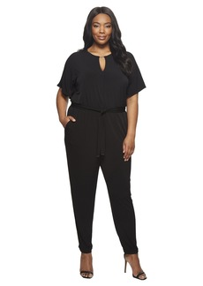 MICHAEL Michael Kors Plus Size Solid Square Sleeve Jumpsuit
