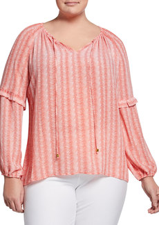 MICHAEL Michael Kors Plus Size Striped Tie-Neck Long-Sleeve Gathered Top