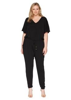 Plus Size V-Neck Flutter Sleeve Jumpsuit