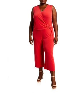 MICHAEL Michael Kors Plus Size Wrap-Front Sleeveless Cropped Jumpsuit