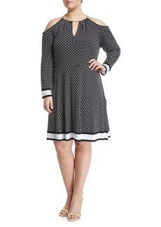 Polka-Dot Chain-Neck Halter Dress