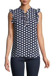 MICHAEL Michael Kors Polka-Dot Chiffon Sleeveless Blouse