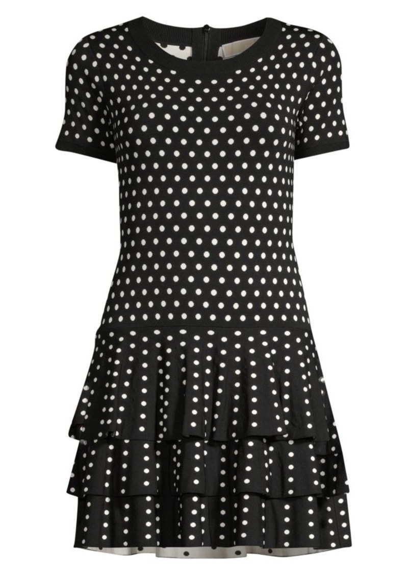 Polka Dot Tiered Hem Sweater Dress