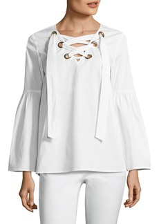 MICHAEL Michael Kors Poplin Grommet Bell Sleeve Top
