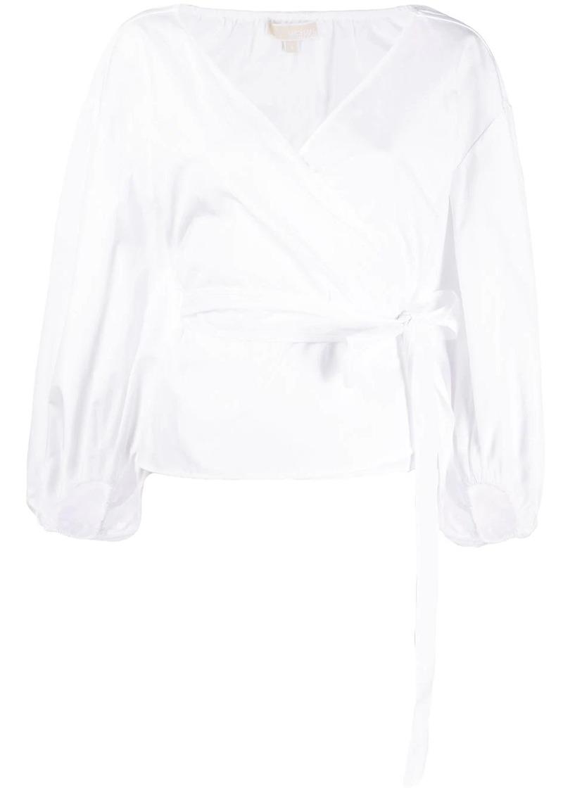 MICHAEL Michael Kors poplin wrap-effect blouse