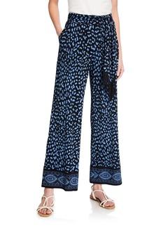 MICHAEL Michael Kors Printed Wide-Leg Tie-Waist Pants
