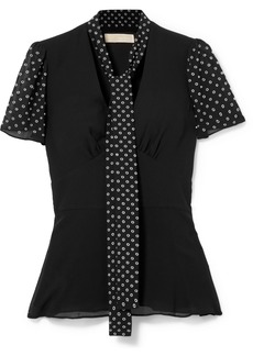 MICHAEL Michael Kors Pussy-bow Embellished Georgette Top