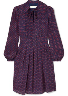MICHAEL Michael Kors Pussy-bow Printed Silk Crepe De Chine Mini Dress