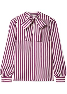 MICHAEL Michael Kors Pussy-bow Striped Silk-twill Blouse
