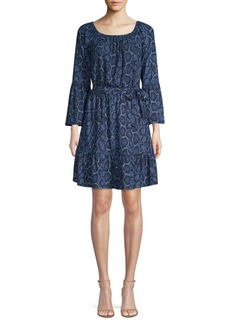 MICHAEL Michael Kors Python Print Bell Sleeve Dress