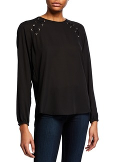 MICHAEL Michael Kors Raglan Blouse with Lacing Detail