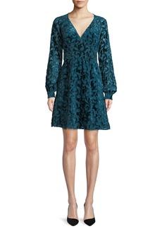 MICHAEL Michael Kors Raglan-Sleeve Mini Dress w/ Velvet