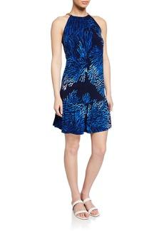 MICHAEL Michael Kors Reef-Print Chain Halter Dress