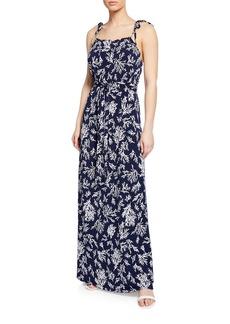 MICHAEL Michael Kors Reef-Print Tie-Shoulder Sleeveless Maxi Dress
