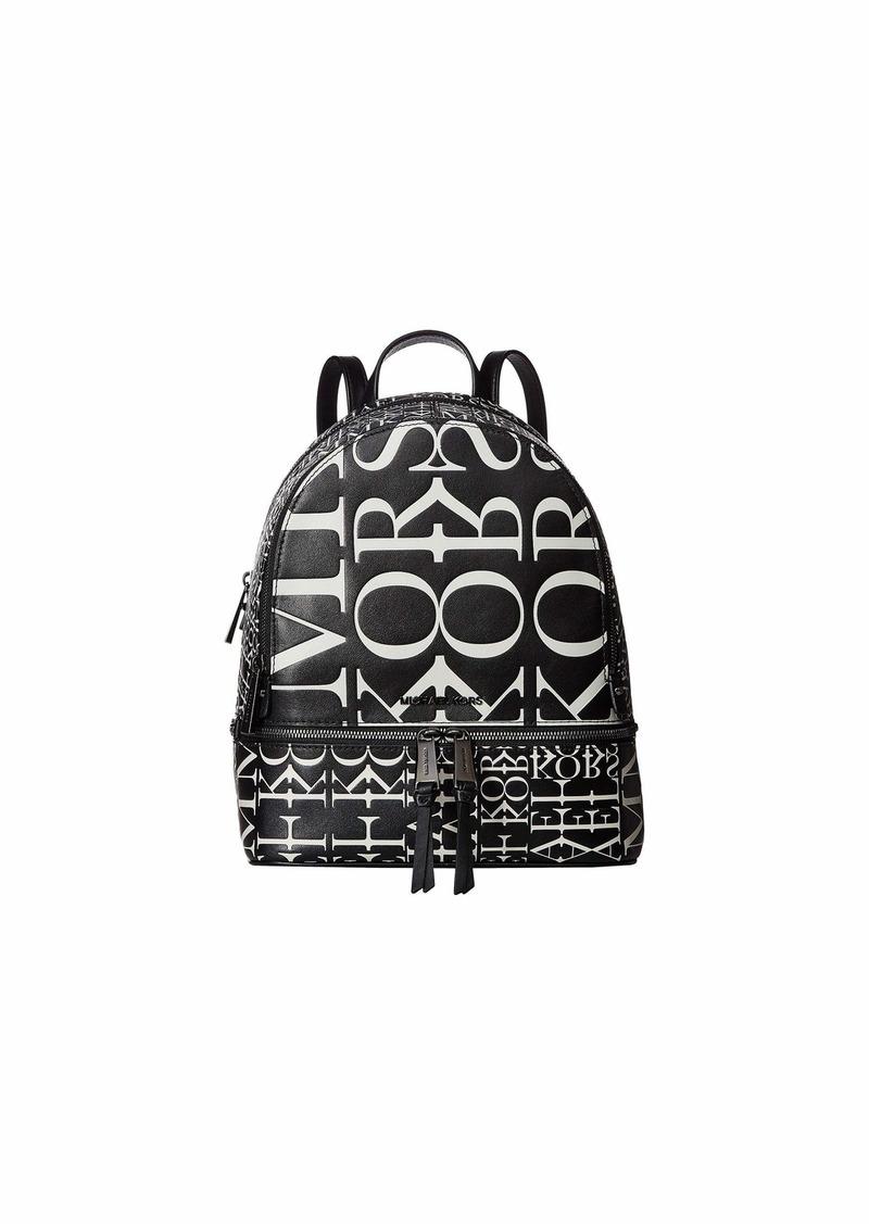 Michael Kors Rhea Zip Medium Backpack Optic WhiteBlack in