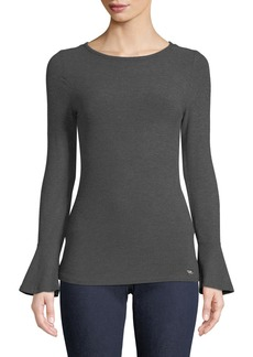 MICHAEL Michael Kors Ribbed Bell-Sleeve Top