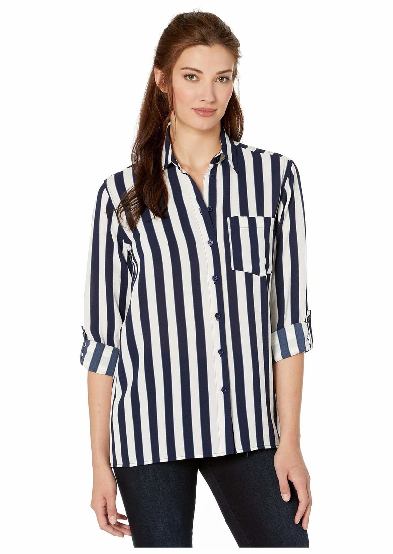Ribbon Stripe Oversized Shirt