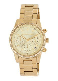 MICHAEL Michael Kors Ritz 37mm Chronograph Watch w/ Crystals  Golden