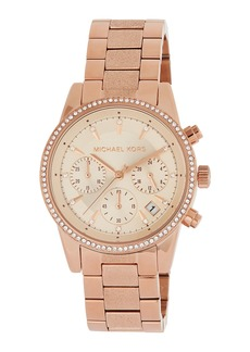 MICHAEL Michael Kors Ritz 37mm Chronograph Watch w/ Crystals  Rose