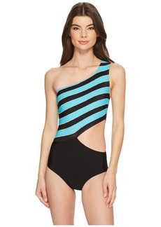 Rope Rugby Stripe One Shoulder Cut Out One-Piece Swimsuit w/ Zipper & Removable Soft Cups