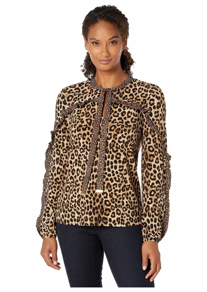 MICHAEL Michael Kors Ruffle Cheetah Blouse