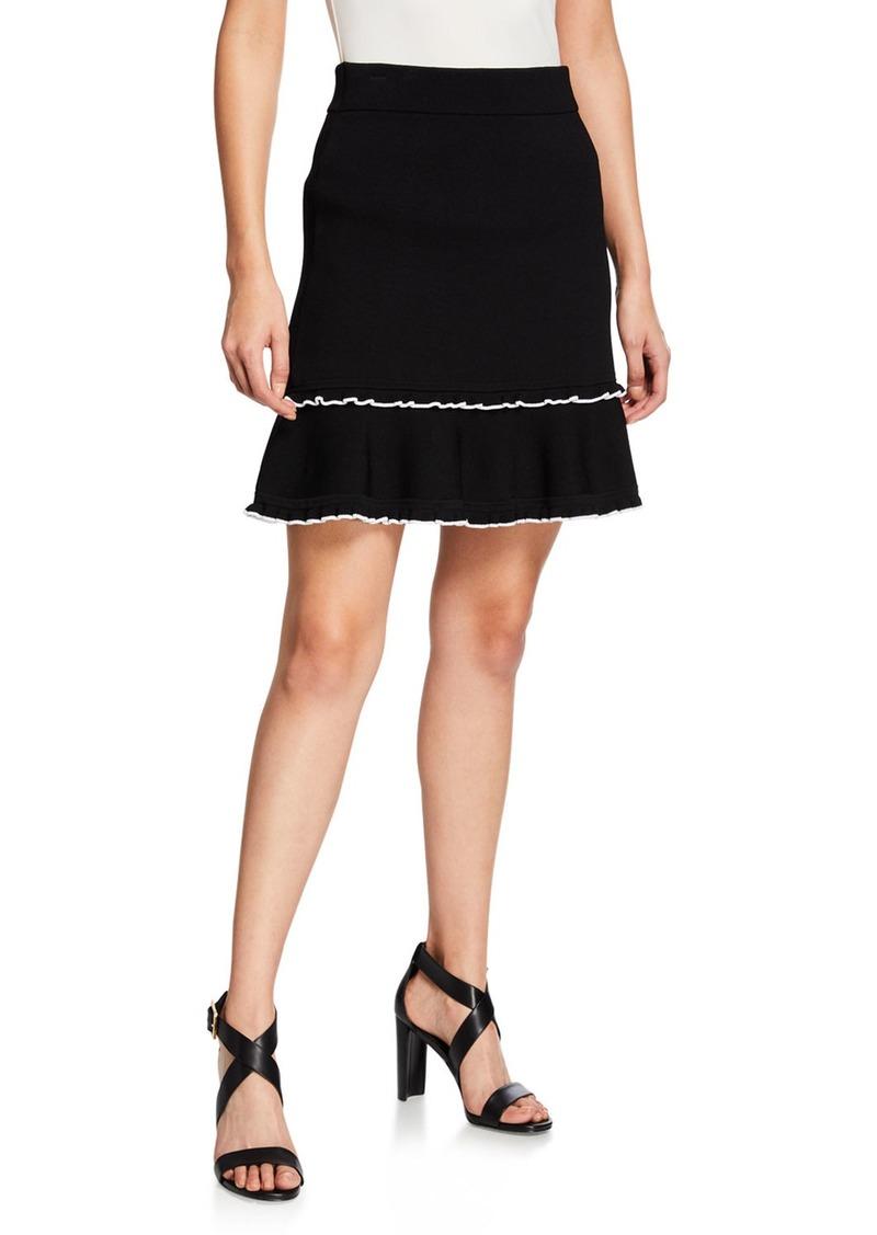 MICHAEL Michael Kors Ruffle Flared Knit Skirt